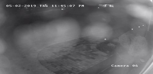 Dark and Blurry Security Camera Image